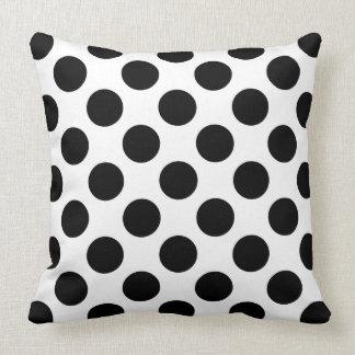 Polka Dots Black White Throw Pillow