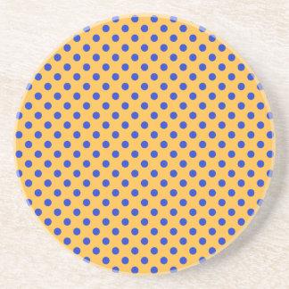 Polka Dots - Blue on Orange Coaster