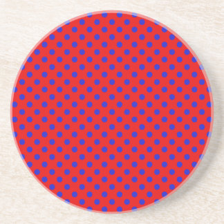 Polka Dots - Blue on Red Drink Coaster
