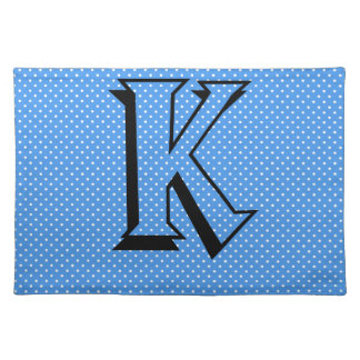 Polka dots blue & white custom monogram initial placemat