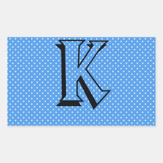 Polka dots blue & white custom monogram initial rectangular sticker