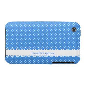 Polka dots blue white retro spot custom girls name iPhone 3 cover