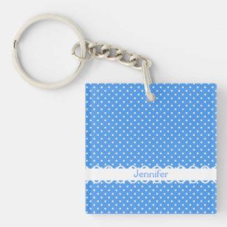 Polka dots blue white retro spot custom girls name square acrylic keychains