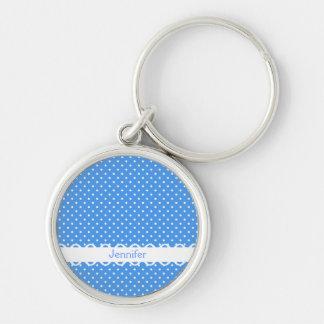 Polka dots blue white retro spot custom girls name key chain