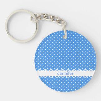 Polka dots blue white retro spot custom girls name acrylic keychain
