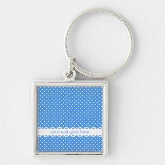 Polka dots blue white retro spot custom keychain