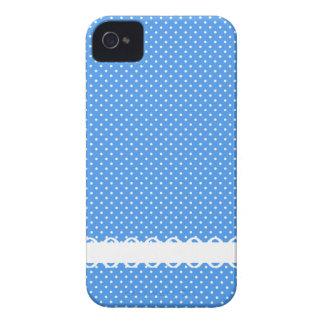 Polka dots blue white retro spots fancy border iPhone 4 covers