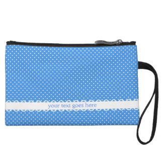 Polka dots blue white retro spots fancy custom wristlet