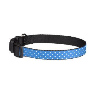 Polka dots blue & white stylish dog's collar dog collars