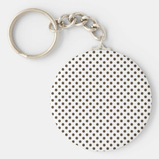 Polka Dots - Cafe Noir on White Key Chains