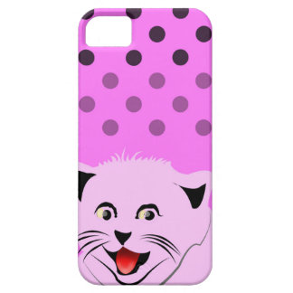 Polka dots_cats_pink_patterns_design iPhone 5/5S case