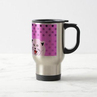 Polka dots_cats_pink_patterns_design stainless steel travel mug