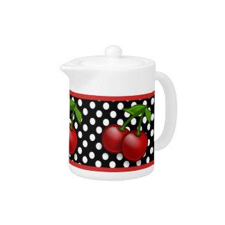 Polka Dots & Cherries Ceramic Tea Pot