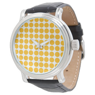 Polka Dots Circle Polkadot Pattern Lemon Yellow Watch