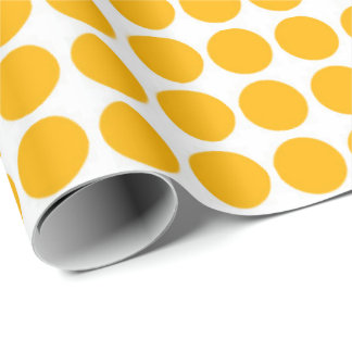 Polka Dots Circle Polkadot White Lemon Yellow Wrapping Paper