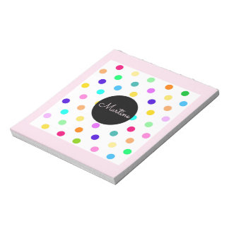 Polka dots color confetti notepad