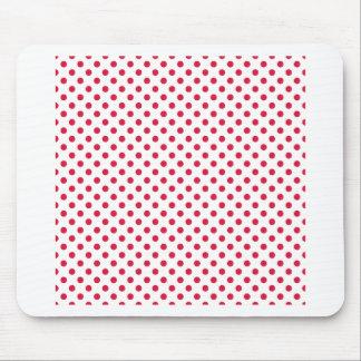 Polka Dots - Crimson on White Mousepad
