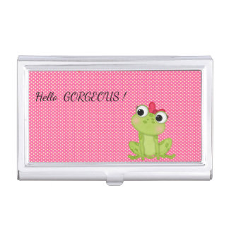 Polka Dots, Cute Froggy-Motivational message Business Card Holder