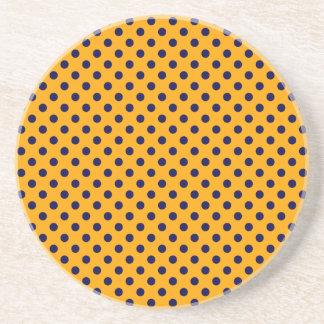 Polka Dots - Dark Blue on Orange Coaster