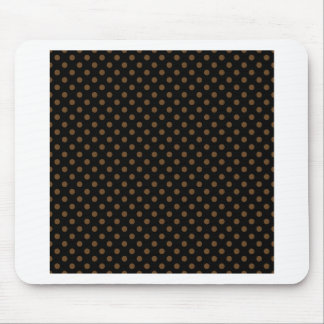 Polka Dots - Dark Brown on Black Mouse Pads