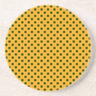 Polka Dots - Dark Green on Orange Drink Coaster