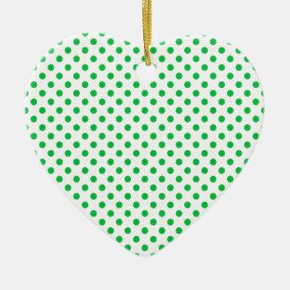 Polka Dots - Dark Pastel Green on White Ceramic Heart Decoration