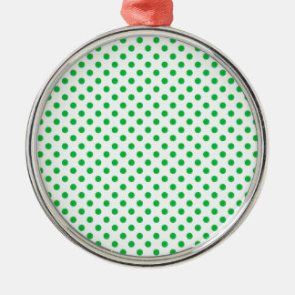 Polka Dots - Dark Pastel Green on White Silver-Colored Round Decoration