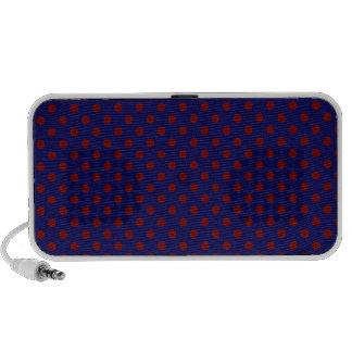 Polka Dots - Dark Red on Dark Blue Travel Speaker