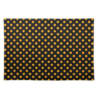 Polka Dots - Dark Tangerine on Black Cloth Placemat