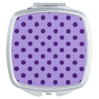 Polka Dots - Dark Violet on Violet Travel Mirror