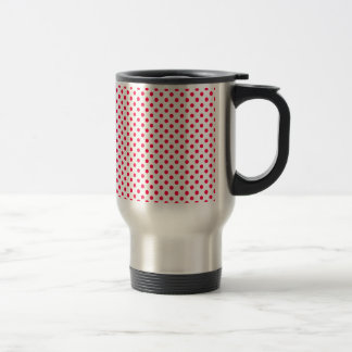 Polka Dots - Electric Crimson on White Coffee Mug