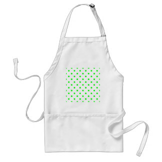 Polka Dots - Electric Green on White Adult Apron