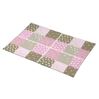 Polka Dots Flowers Brown Pink Quilt Placemats