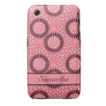Polka Dots Flowers iPhone 3g/3gs Case:Pink