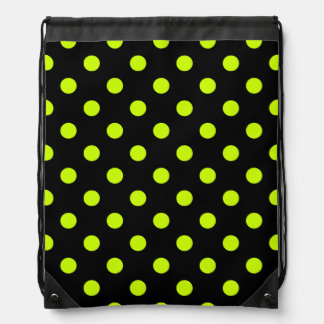 Polka Dots - Fluorescent Yellow on Black Backpack
