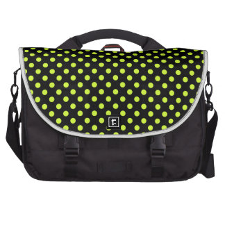 Polka Dots - Fluorescent Yellow on Black Laptop Bags