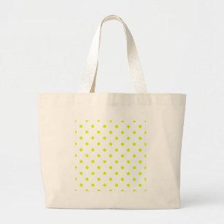 Polka Dots - Fluorescent Yellow on White Jumbo Tote Bag