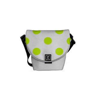 Polka Dots - Fluorescent Yellow on White Messenger Bags