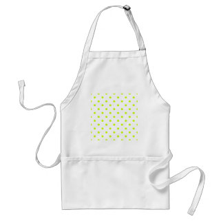 Polka Dots - Fluorescent Yellow on White Standard Apron