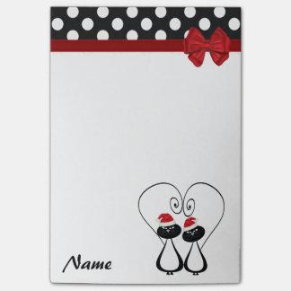 Polka dots funny Santa cat couple  monogram Post-it® Notes