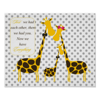polka dots giraffe family yellow baby boy nursery poster