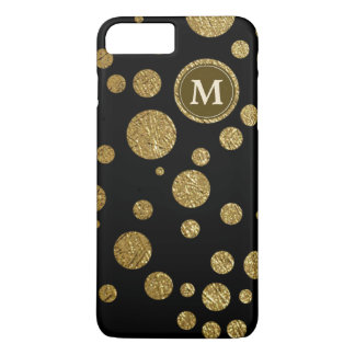 polka dots gold on black, personalized iPhone 7 plus case