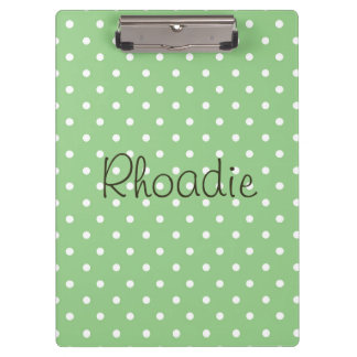 Polka Dots Green and White Clipboard