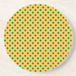 Polka Dots - Green on Orange Drink Coaster