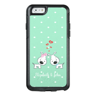 Polka Dots, Green, White,Dogs In Love OtterBox iPhone 6/6s Case