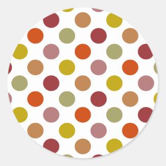 Polka Dots Harvest Mix Classic Round Sticker