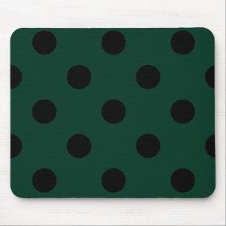 Polka Dots Huge - Black on Dark Green Mouse Pad
