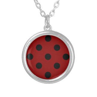 Polka Dots Huge - Black on Dark Red Necklace