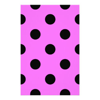 Polka Dots Huge - Black on Ultra Pink Personalised Stationery