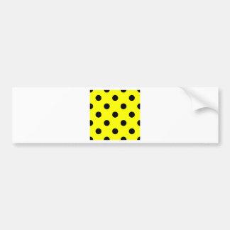 Polka Dots Huge - Black on Yellow Bumper Sticker